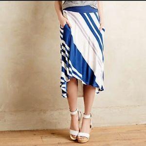 ANTHROPOLOGIE Seastripe Skirt by Bordeaux Petite M